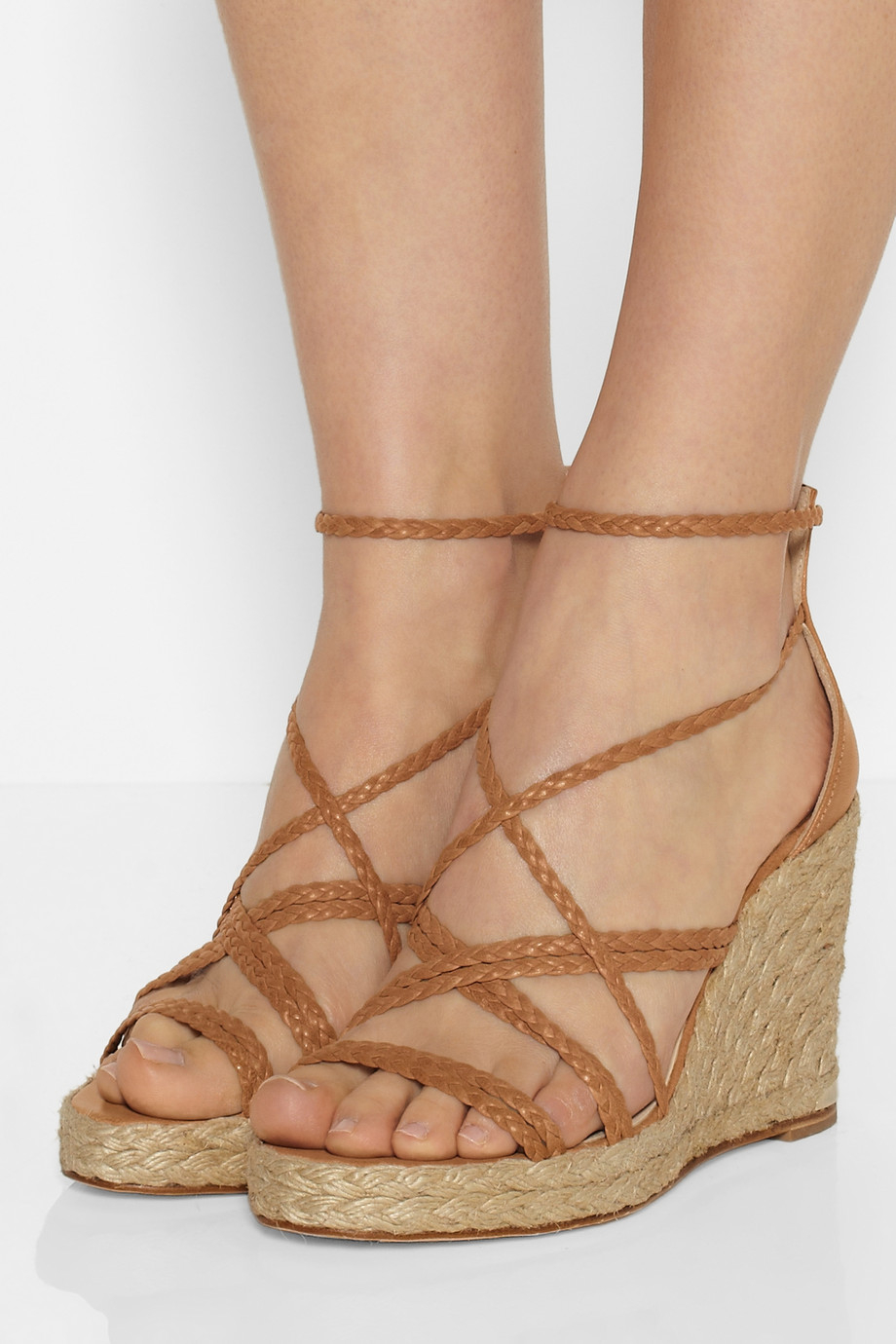 a94c8c61e77c Lyst - Paloma Barceló Braided Leather Wedge Espadrilles in Brown