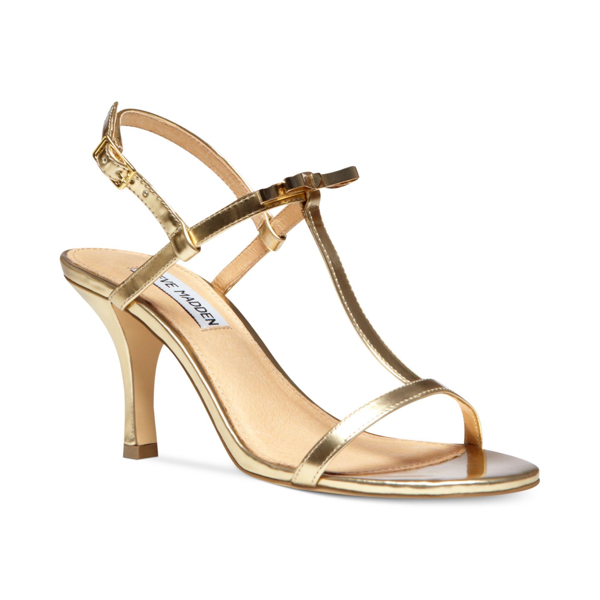 steve madden womens dussty sandals in metallic lyst. Black Bedroom Furniture Sets. Home Design Ideas