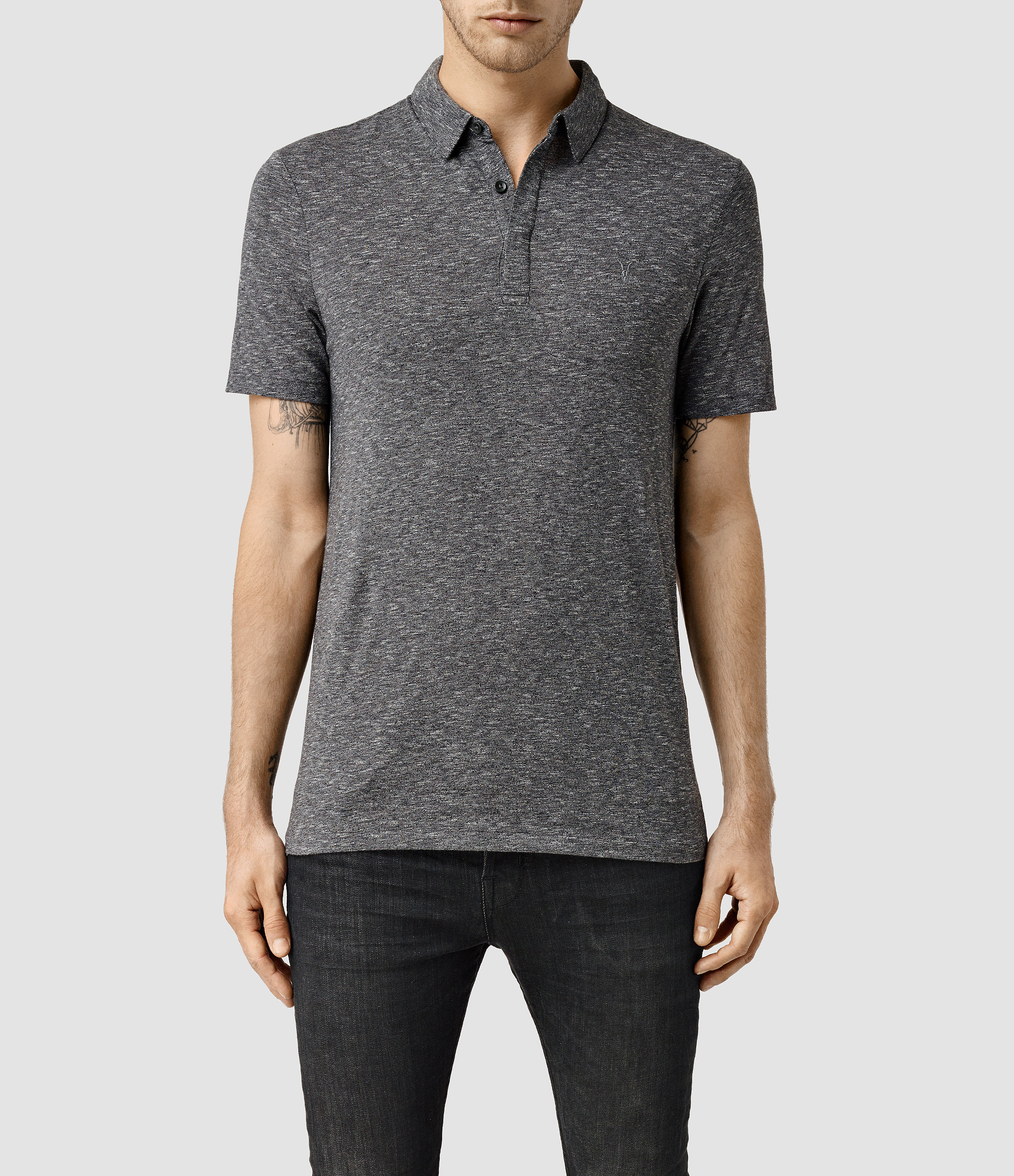 Lyst allsaints audit polo shirt in gray for men for All saints polo shirt