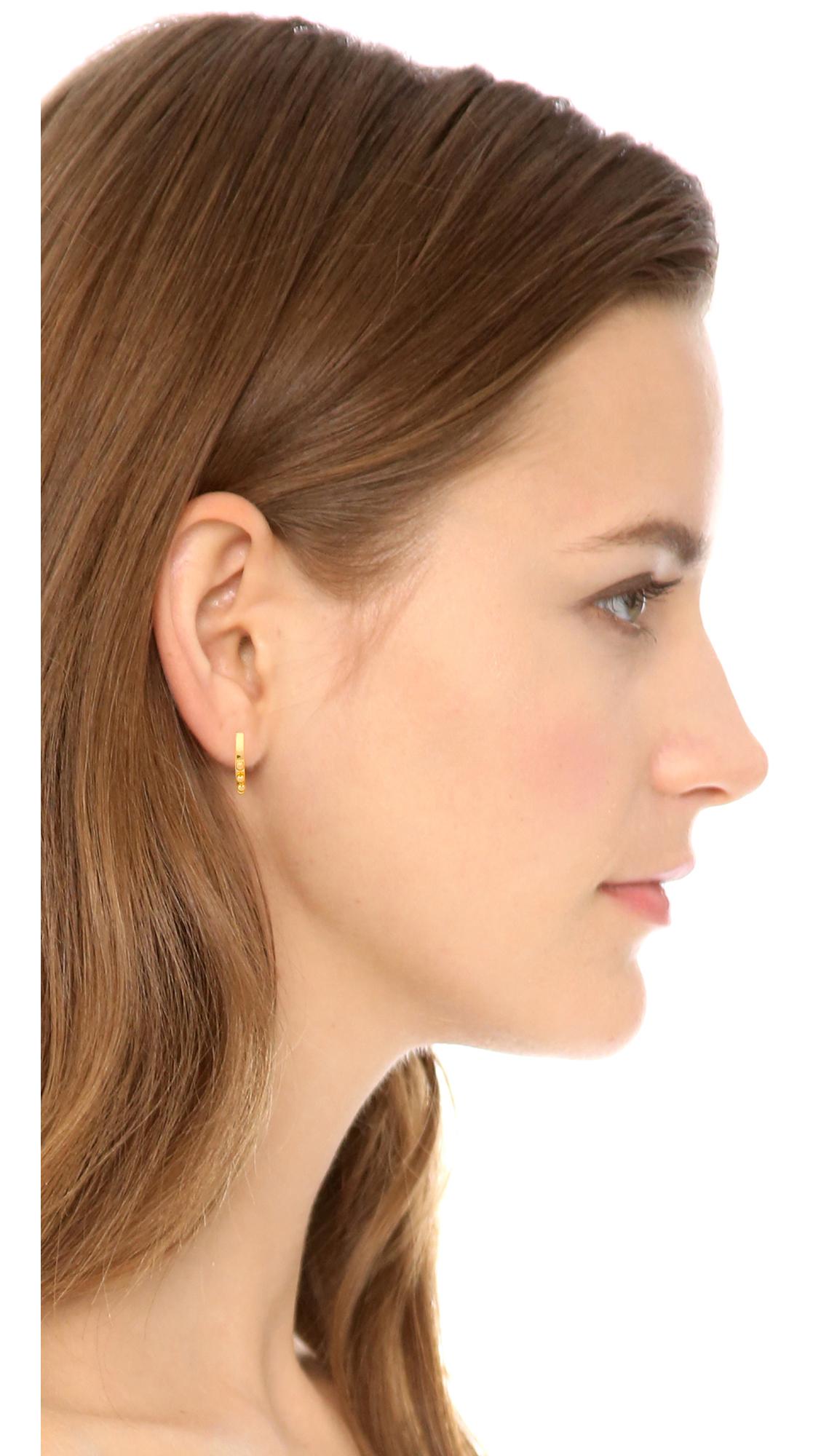 be239f65602c73 Madewell Dot Hoop Earrings - Vintage Gold in Metallic - Lyst