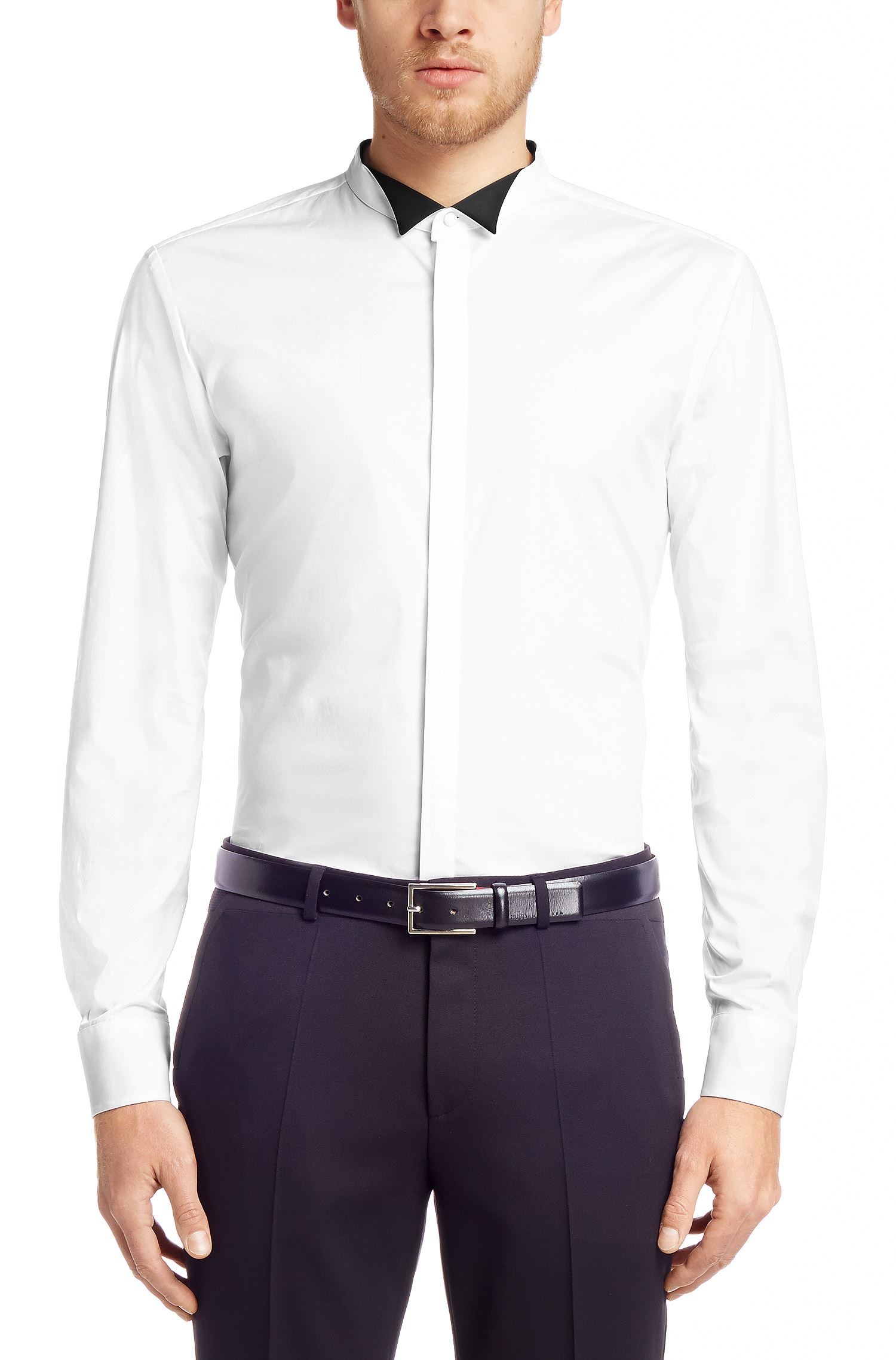 Hugo Slim Fit Evening Shirt Etward With A Wing Collar In White For