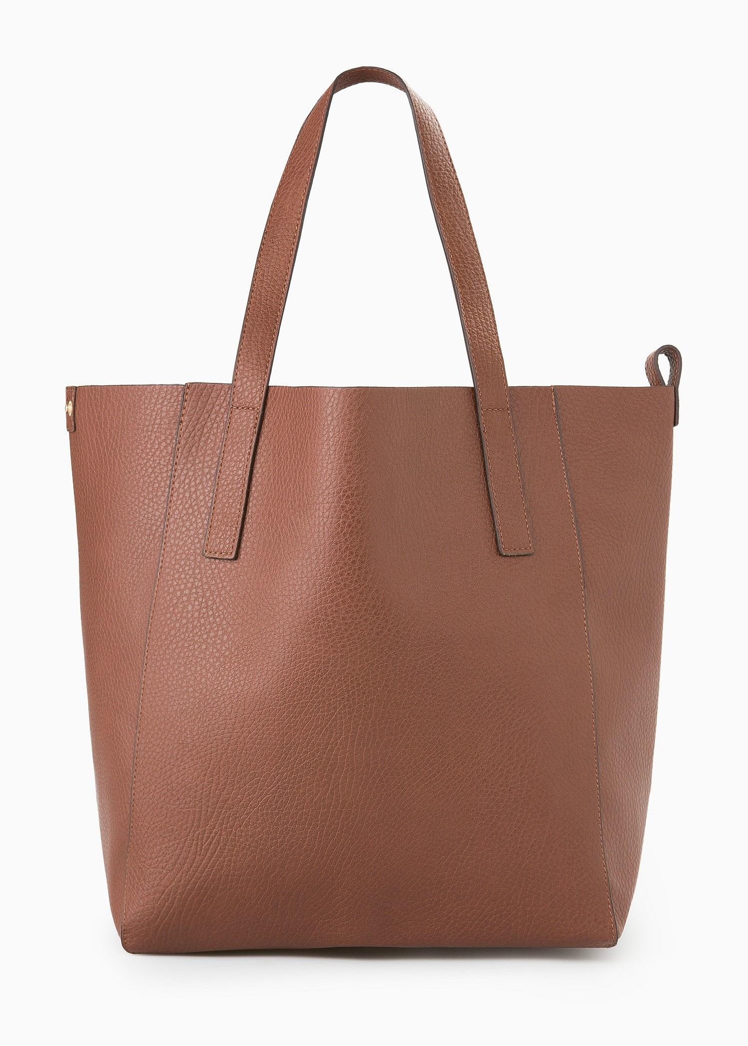 Lyst Mango Faux Leather Shopper Bag In Brown