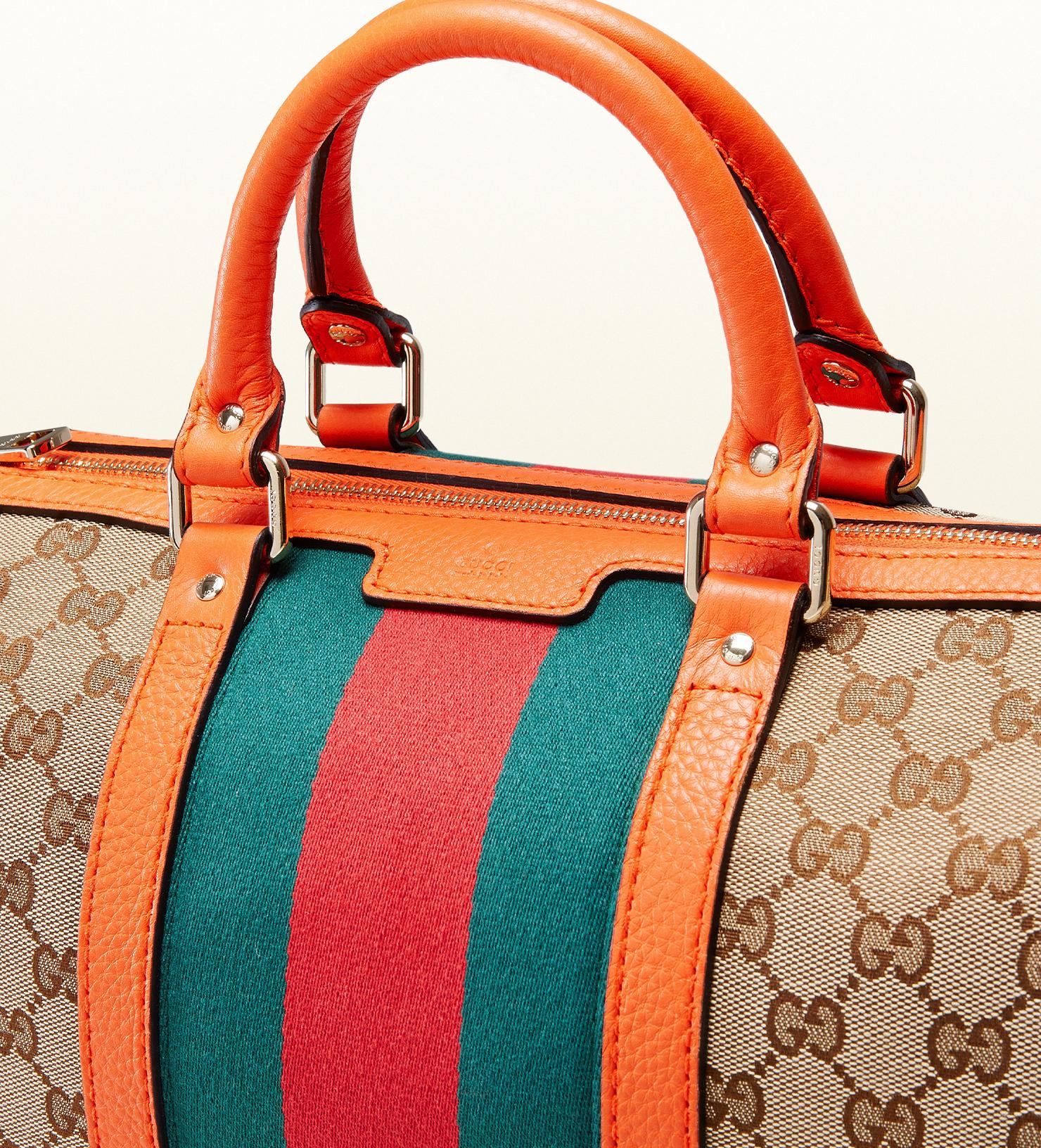 b15456603ba222 Gucci Vintage Web Original Gg Canvas Boston Bag in Orange - Lyst