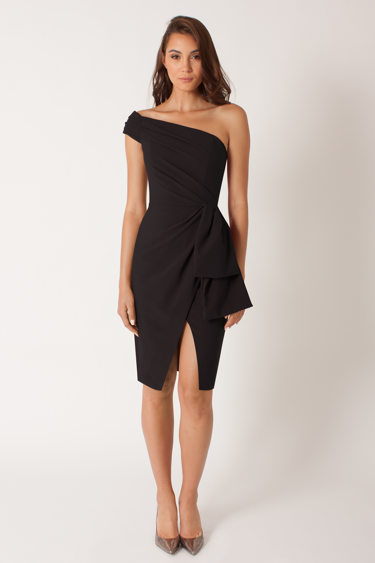 Black halo Angelica Stretch-Crepe Sheath Dress in Black | Lyst