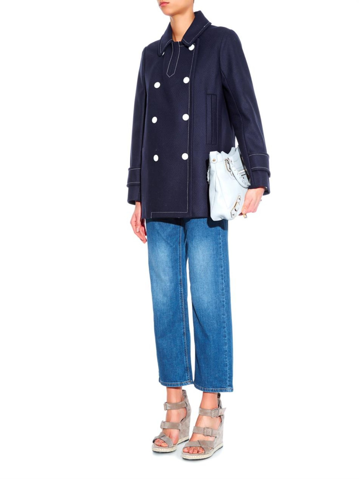 See by chloé Double-Breasted Coat in Blue