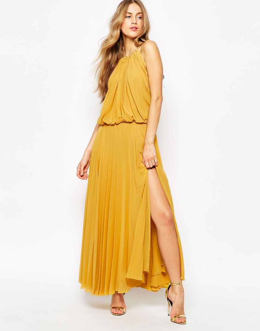 0988cd639 Mango Pleated 70's Glamour Maxi Dress in Yellow - Lyst