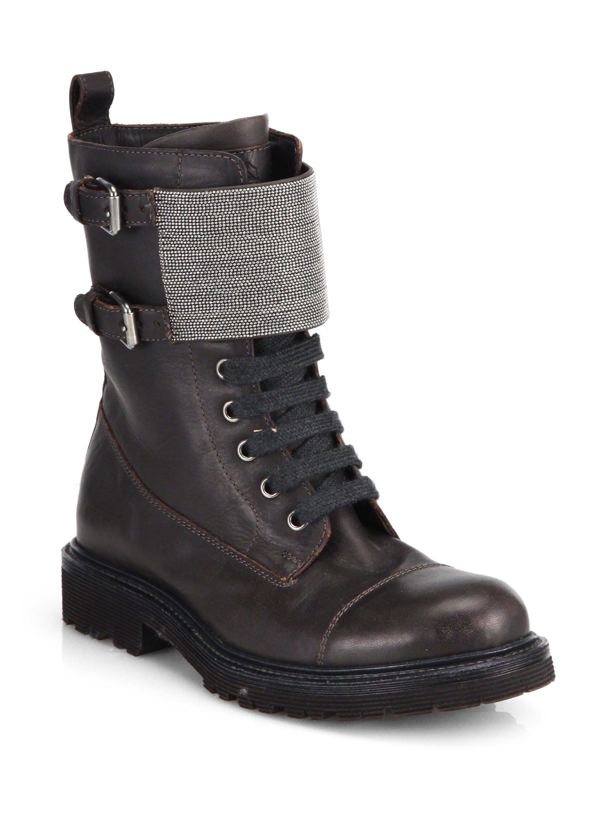Brunello Cucinelli Monili Beaded Leather Combat Boots In