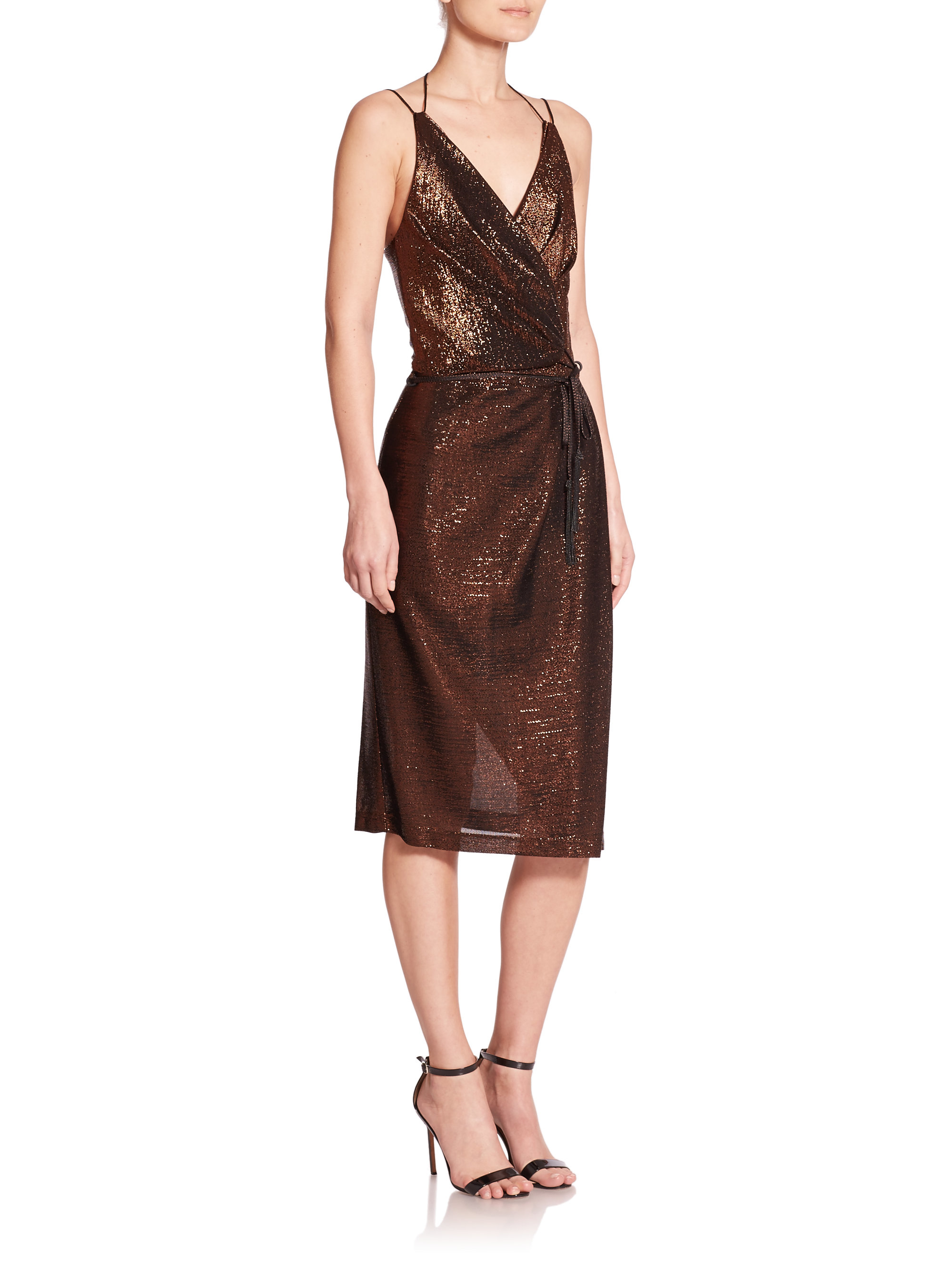 Kempner Olivia Metallic Wrap Dress In Metallic Lyst