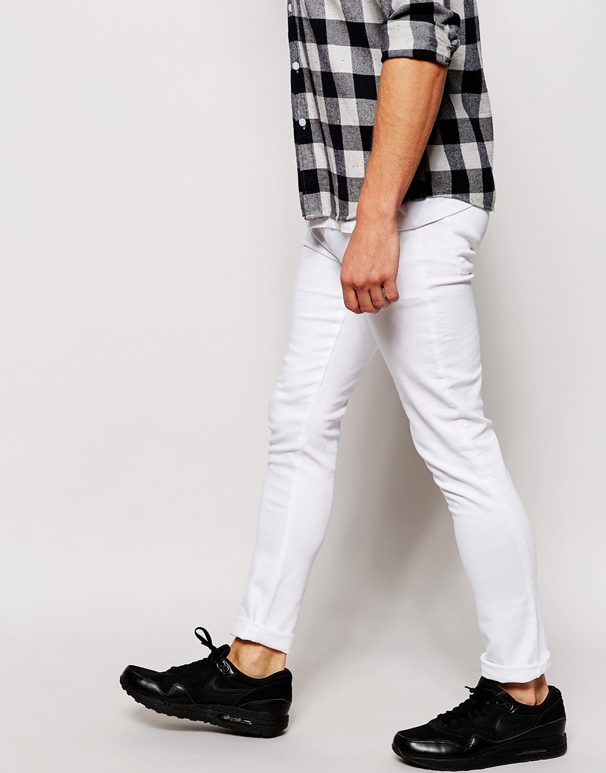 Asos Super Skinny Jeans In White in White for Men | Lyst
