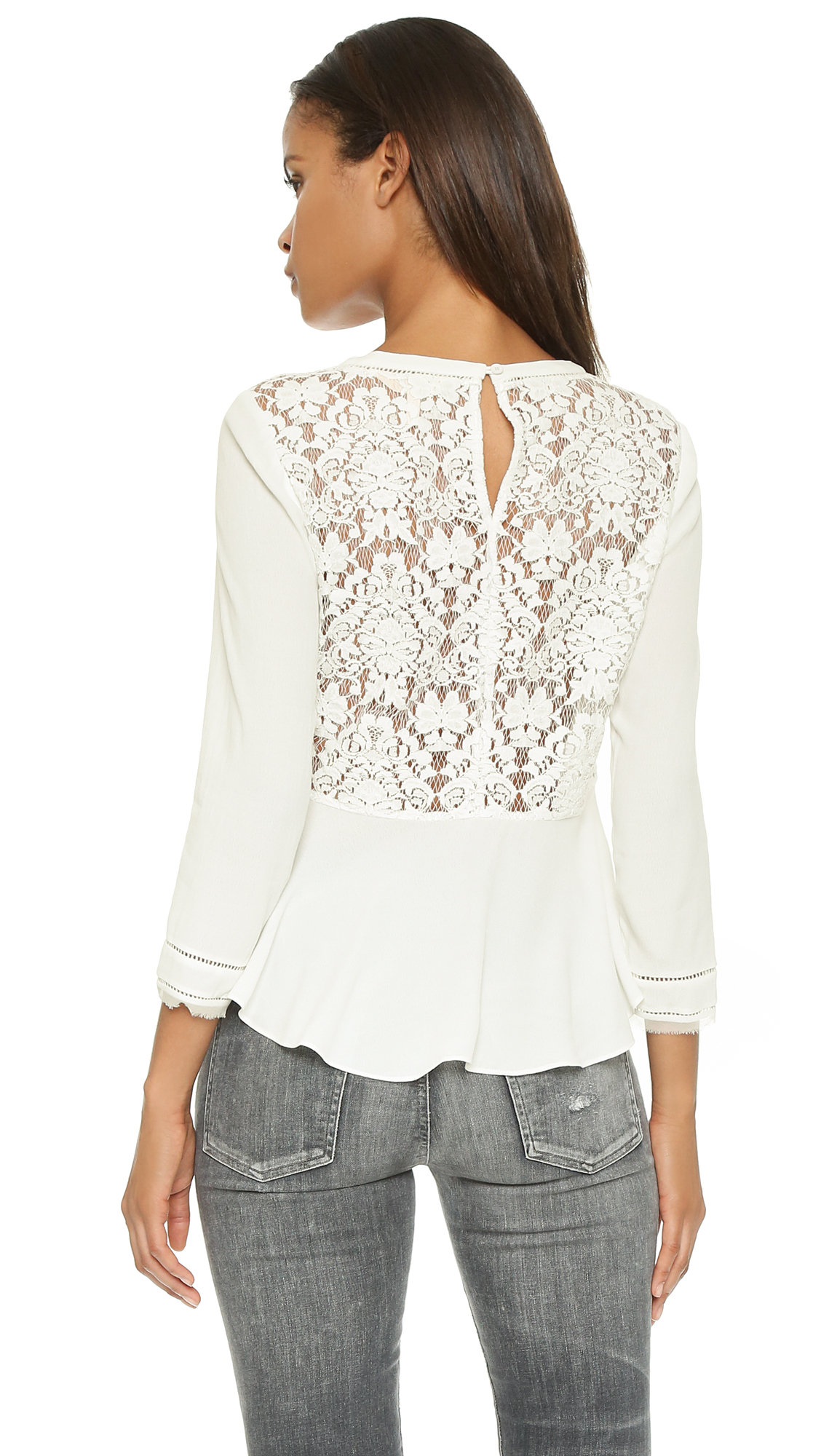 Rebecca taylor Lace Back Top in White   Lyst