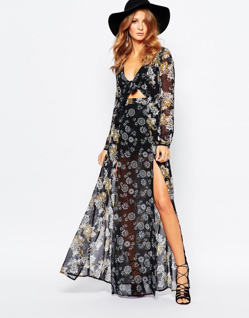Millie mackintosh Maxi Dress In 70s Floral Print - Multi in Black ...