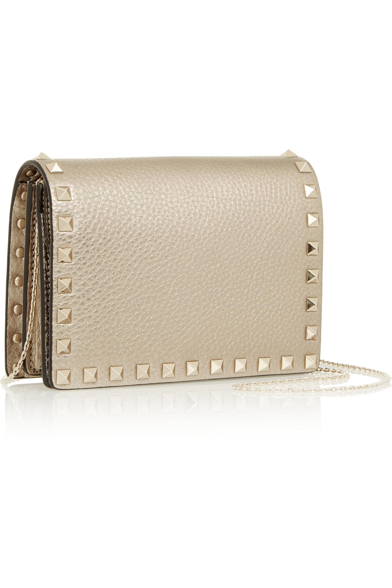 The Rockstud Metallic Textured-leather Cardholder - Gold Valentino 5avIFFeTW3
