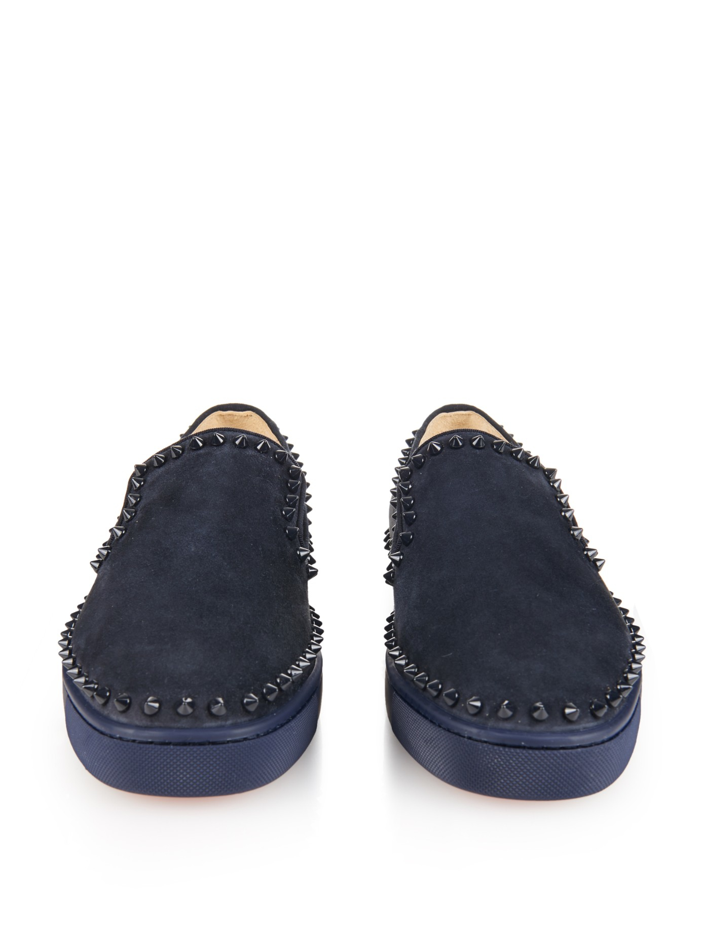 christian louboutin leather round-toe slip-on Pik Boat sneakers ...