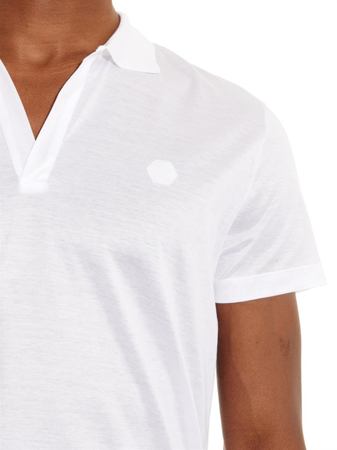 Make your odyssey open neck polo shirt in white for men lyst for Make a polo shirt