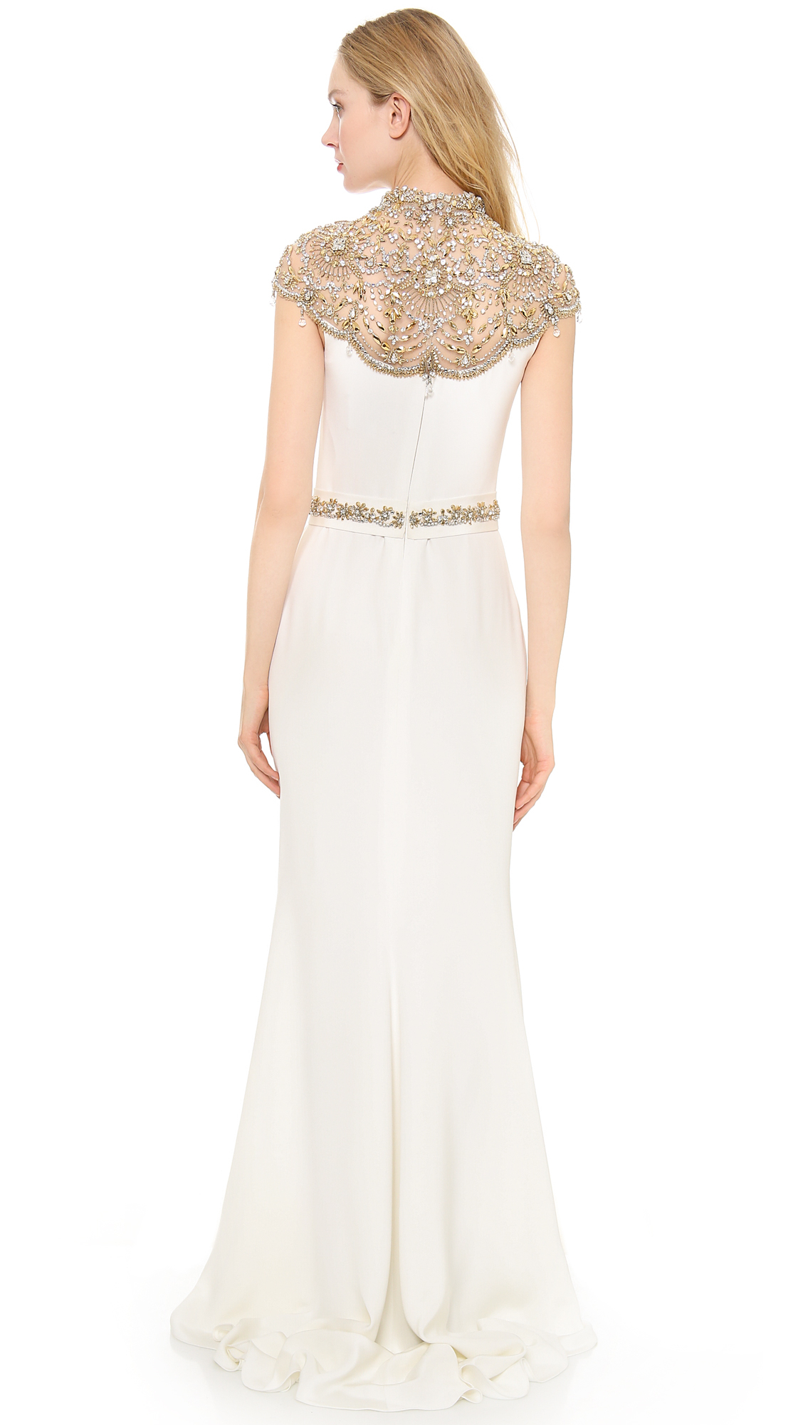 Lyst - Reem acra Silk Crepe Gown in White