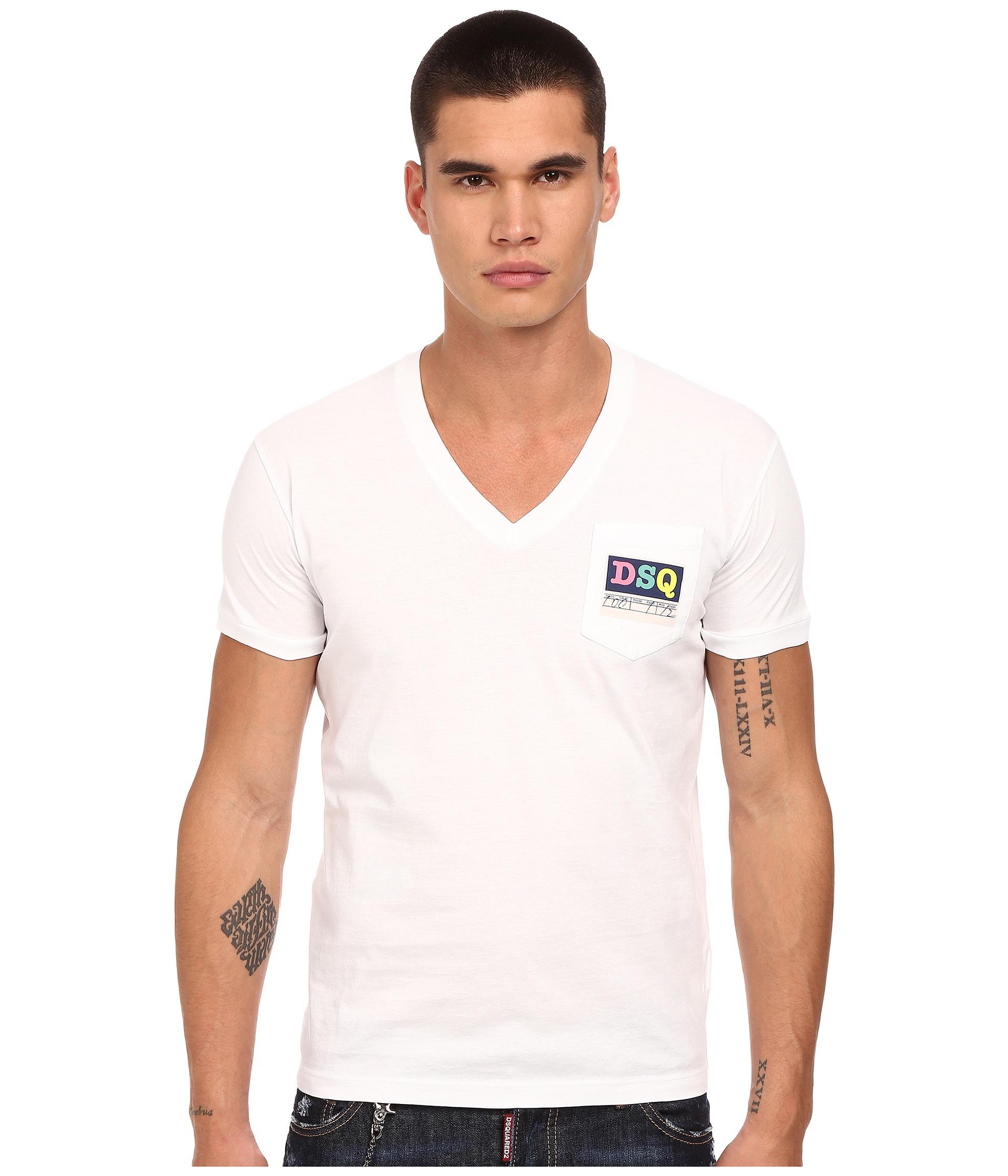 Dsquared logo pocket v neck t shirt in white for men lyst for Men s v neck pocket tee shirts