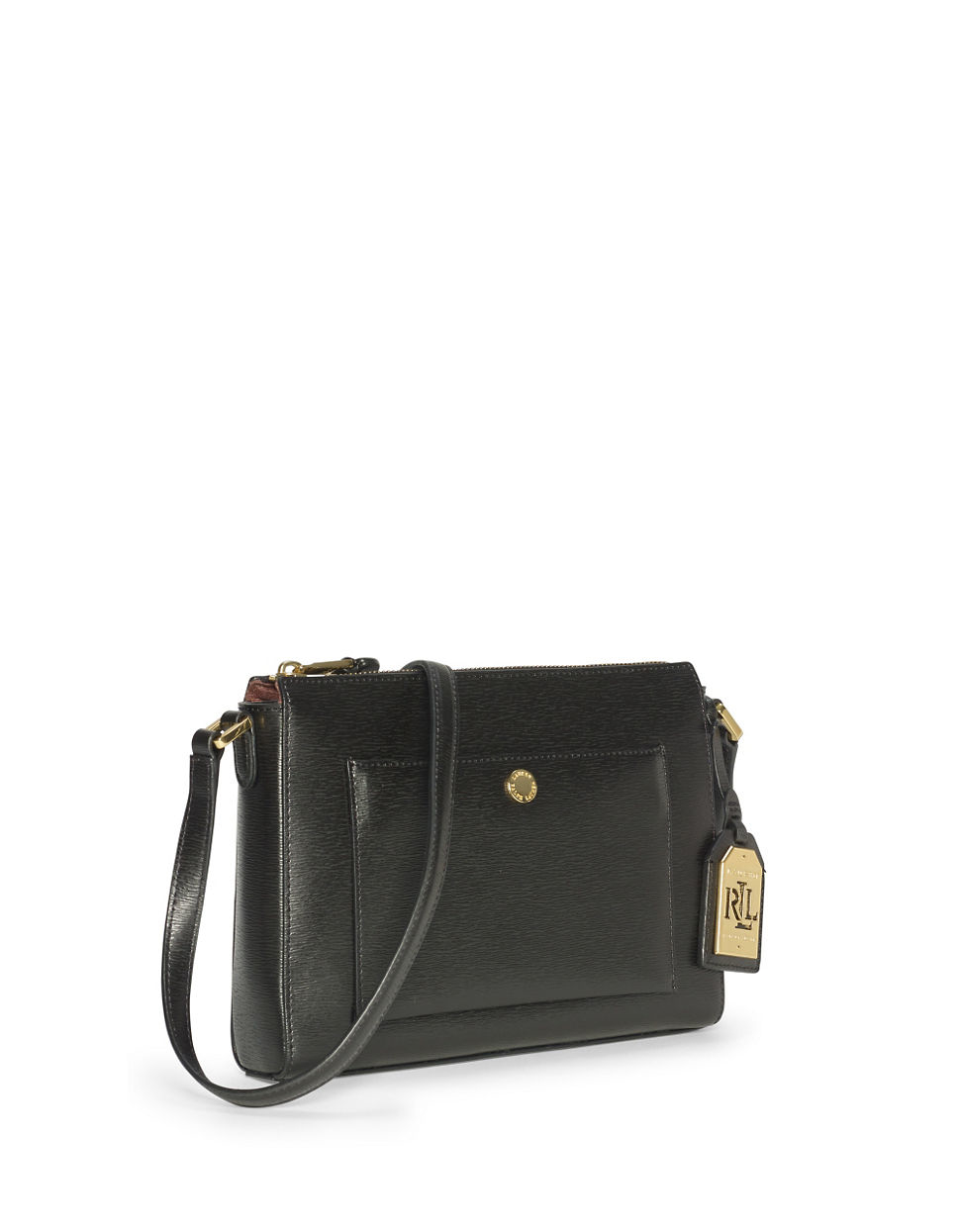 88f12b49c11 ... reduced lyst lauren by ralph lauren newbury leather crossbody bag in  black 6164c 2d4d8