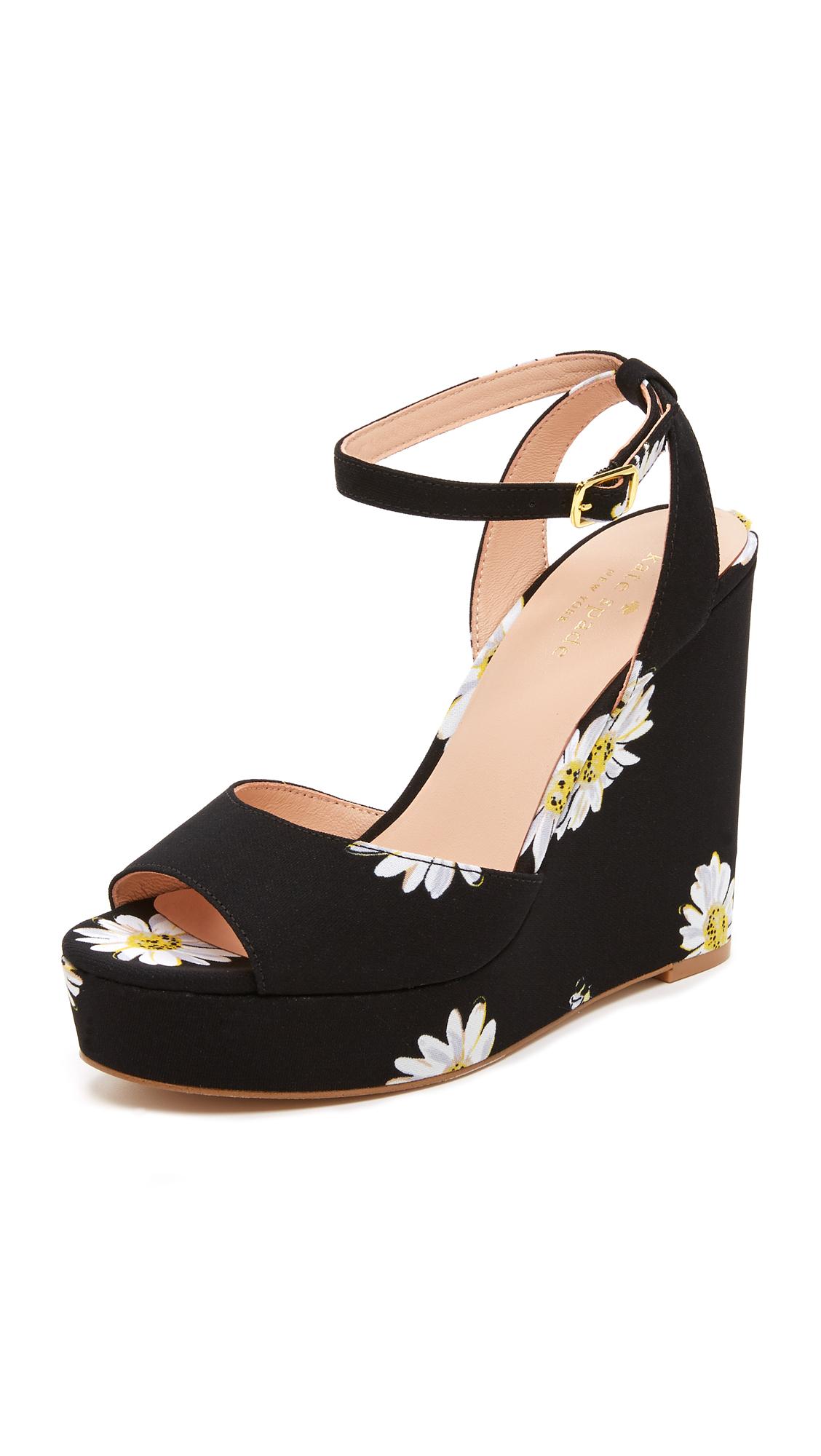 Lyst Kate Spade Dellie Wedge Sandals In Black