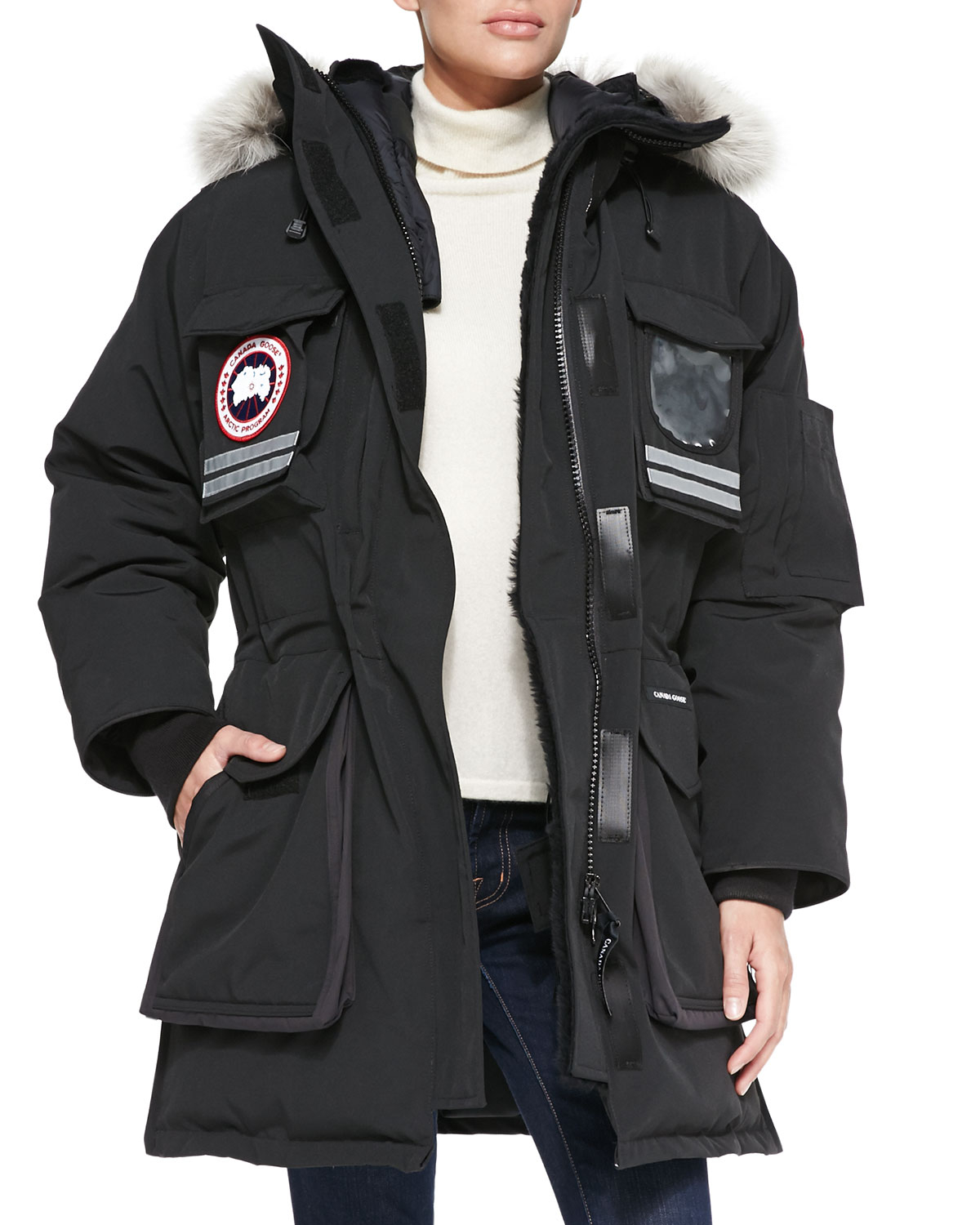 2cdf5c48bb51 ... Jacket With Fur-trimmed Hood Canada Goose kids outlet store - Canada  goose Snow Mantra Fur-hood Coat in Black ...
