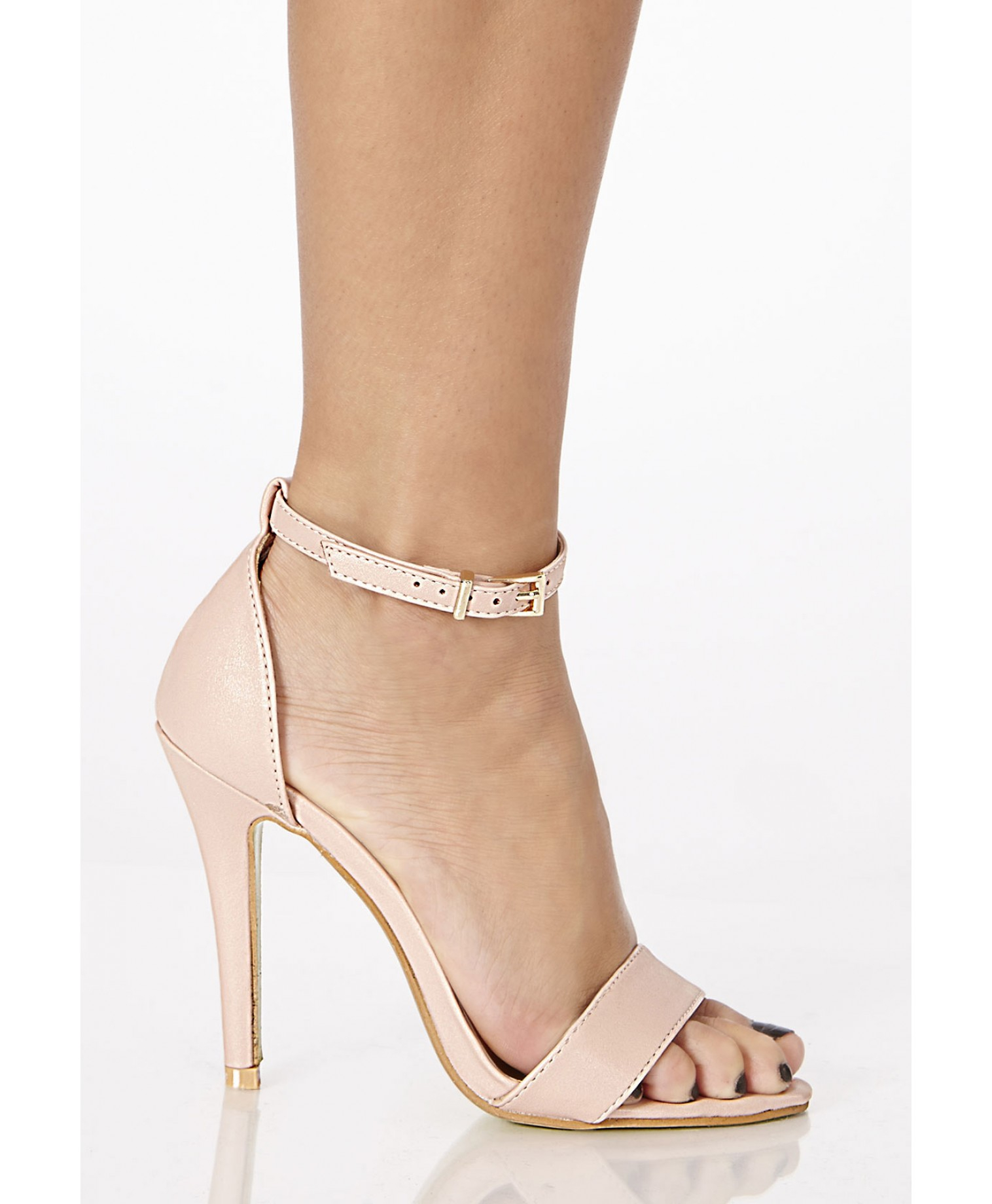 Missguided Kazumi Leather High Heeled Sandals in Nude in Natural