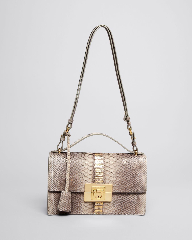 Lyst - Ferragamo Shoulder Bag - Aileen Python bde4cf751a1fa