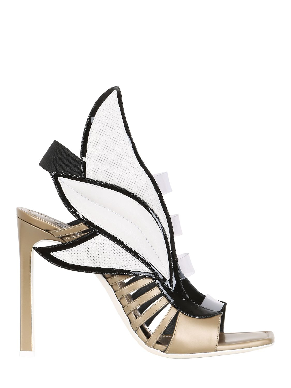 44287115b40 Gianmarco Lorenzi 100Mm Metallic Leather Wing Sandals in Metallic - Lyst