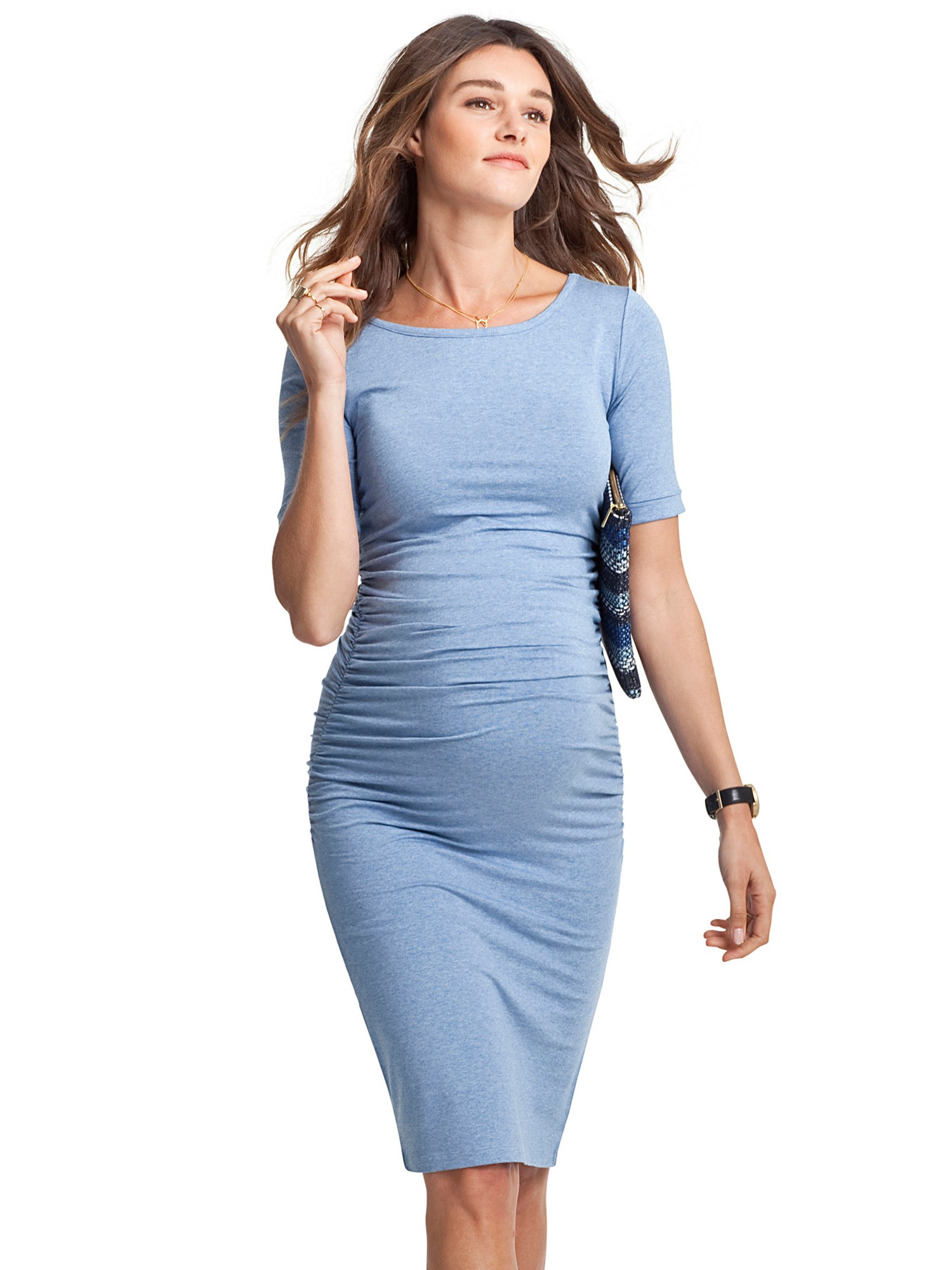 Isabella Oliver Ruched T Shirt Maternity Dress In Blue Lyst