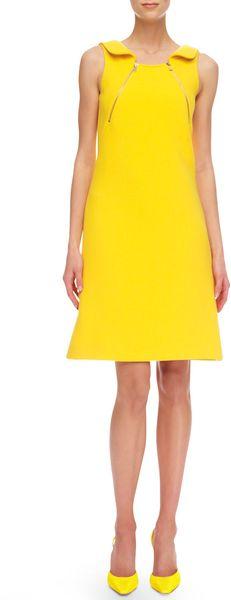Michael Kors Zip-Shoulder Crepe Dress in Yellow