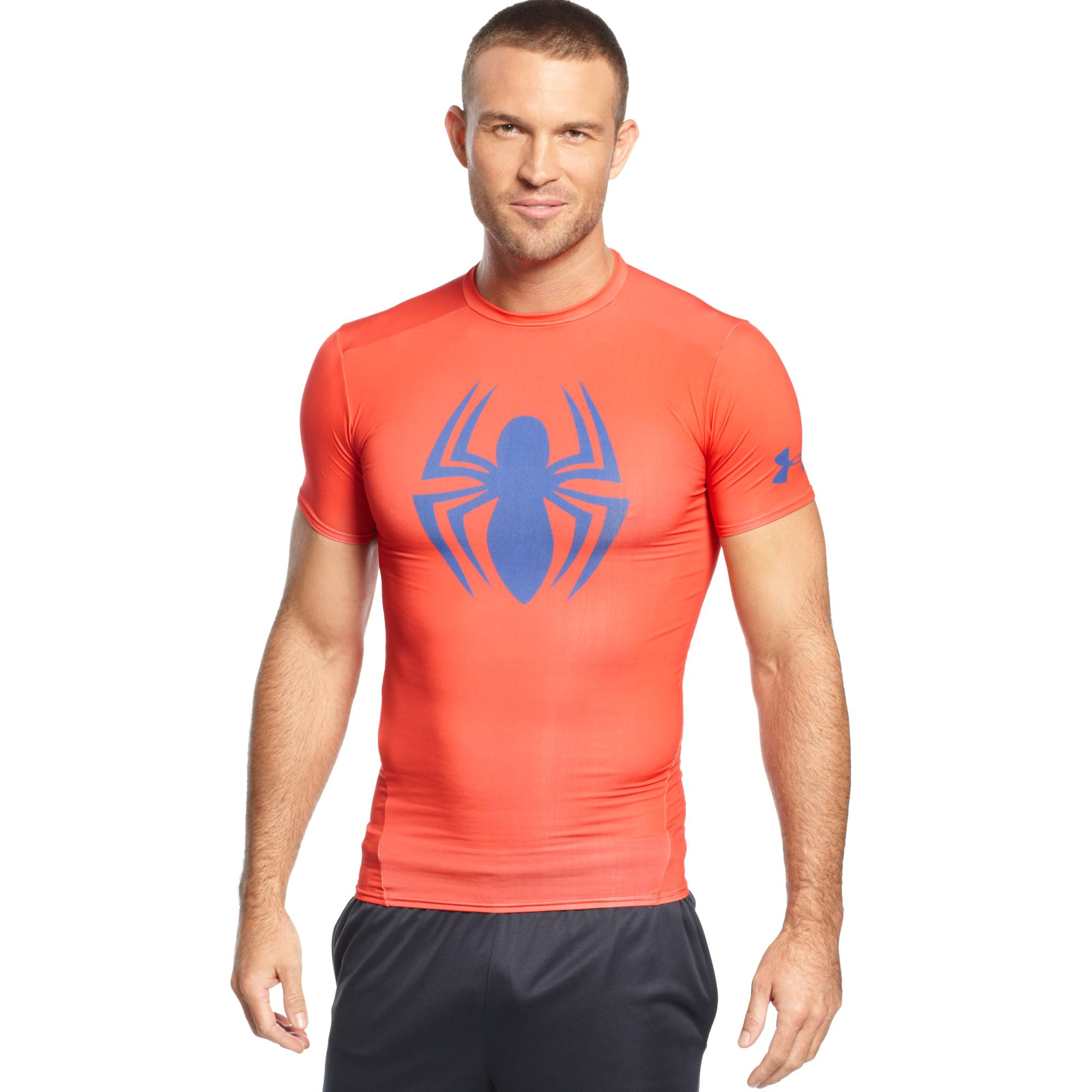 Under armour spiderman compression t shirt in red for men for Compression tee shirts for men
