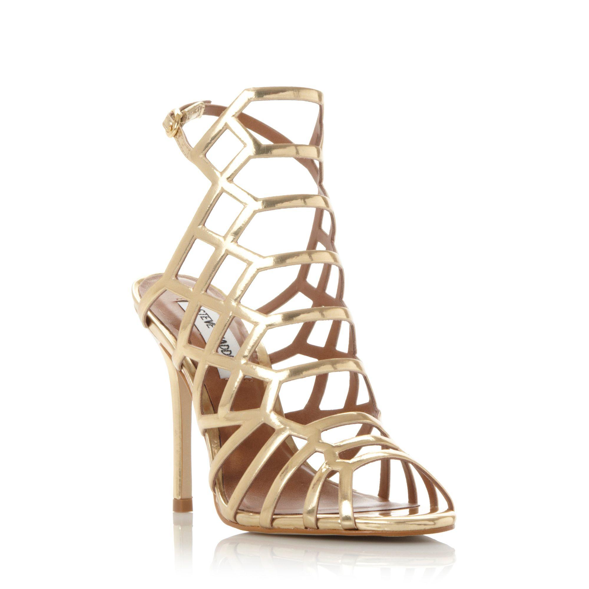 Steve madden Slither Caged High Heel Sandals in Metallic  Lyst