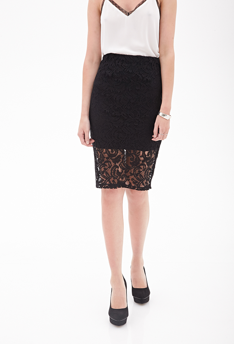 Forever 21 Twisted Lace Pencil Skirt in Black | Lyst