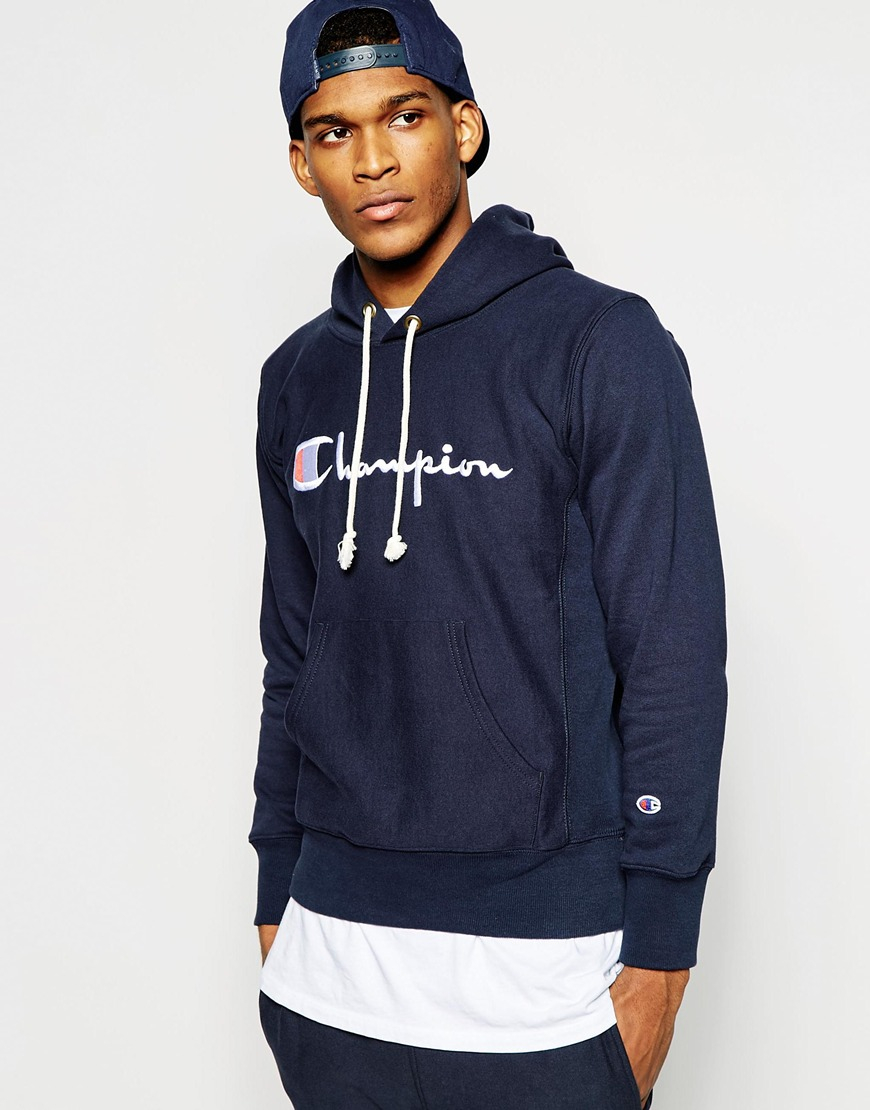 Champion Hoodie With Script Logo in Blue for Men | Lyst