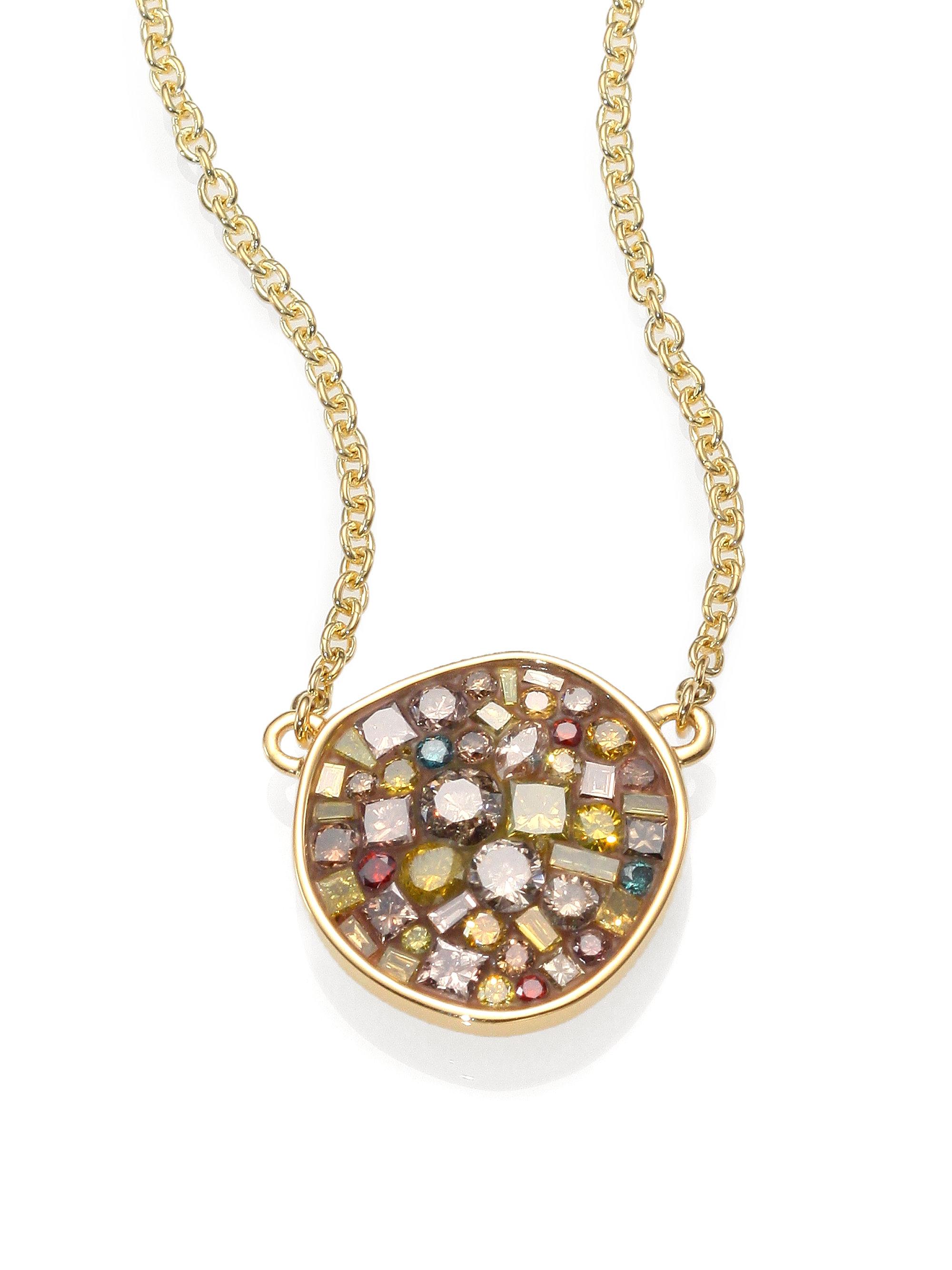 Plevé Cinnamon Diamond & 18k Yellow Gold Pebble Pendant ...