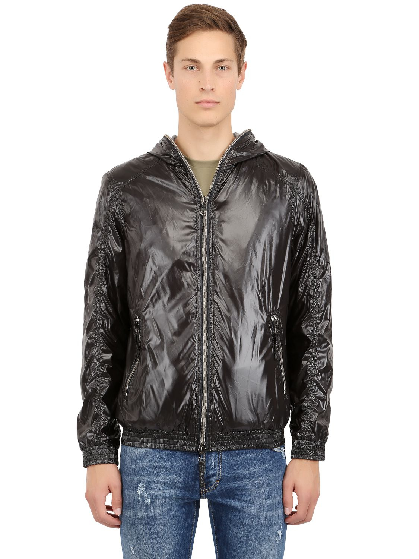 Duvetica Shiny Nylon Foldable Alete Sport Jacket In Black