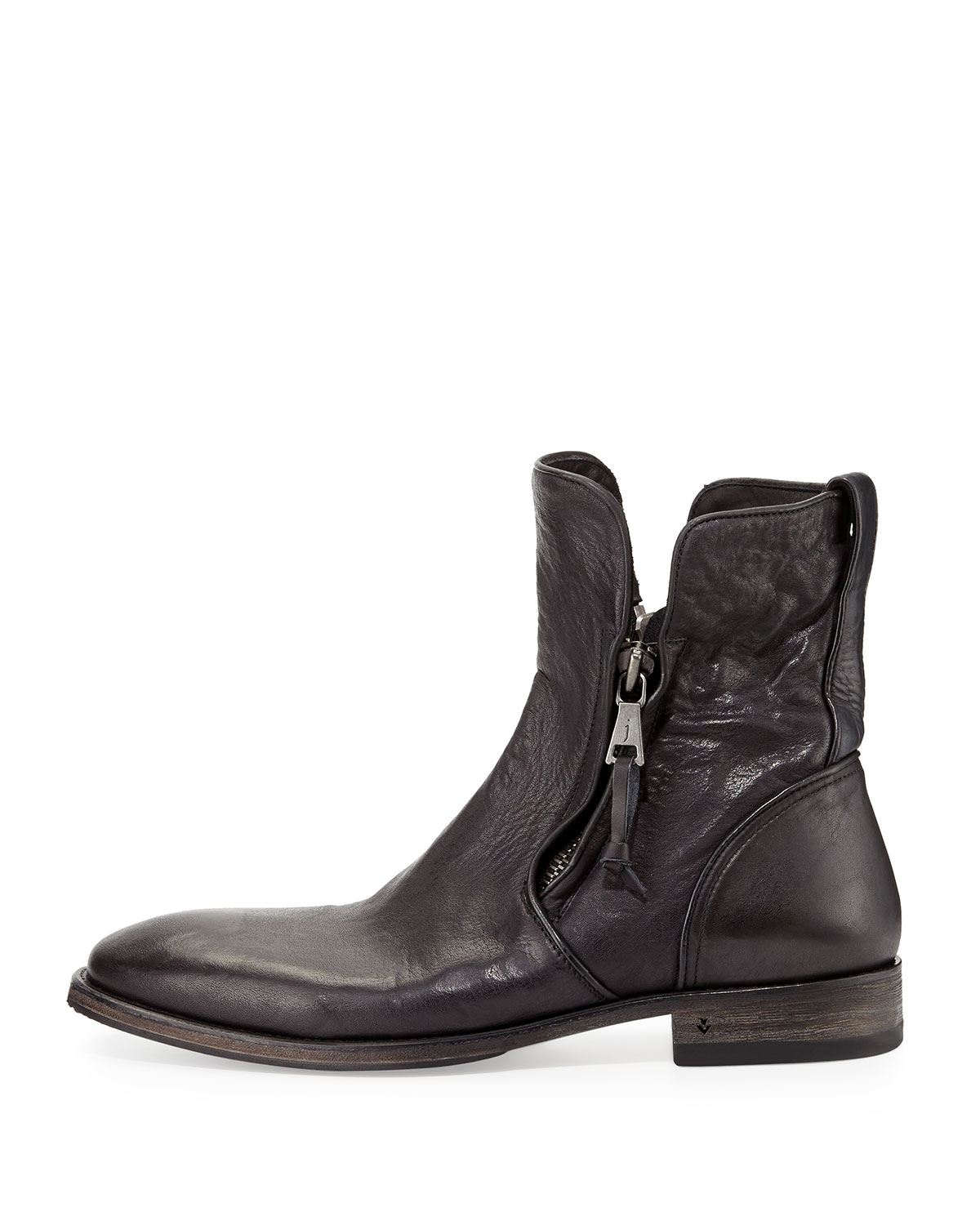 John varvatos Fleetwood Zip-up Leather Boot in Black for Men | Lyst
