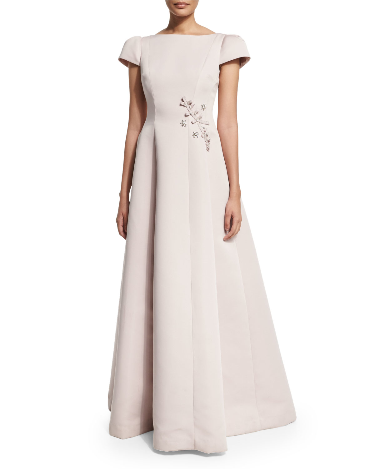 Lyst - Teri Jon Short-sleeve Embroidered Ball Gown in Pink