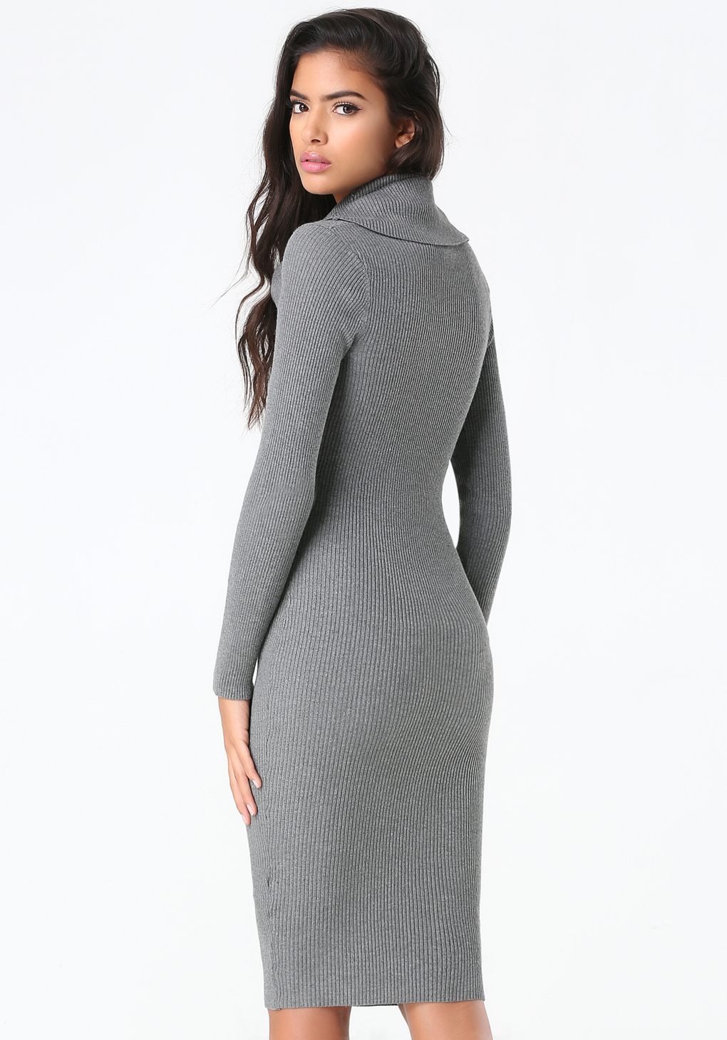 Bebe Cowl Neck Sweater Dress in Gray | Lyst