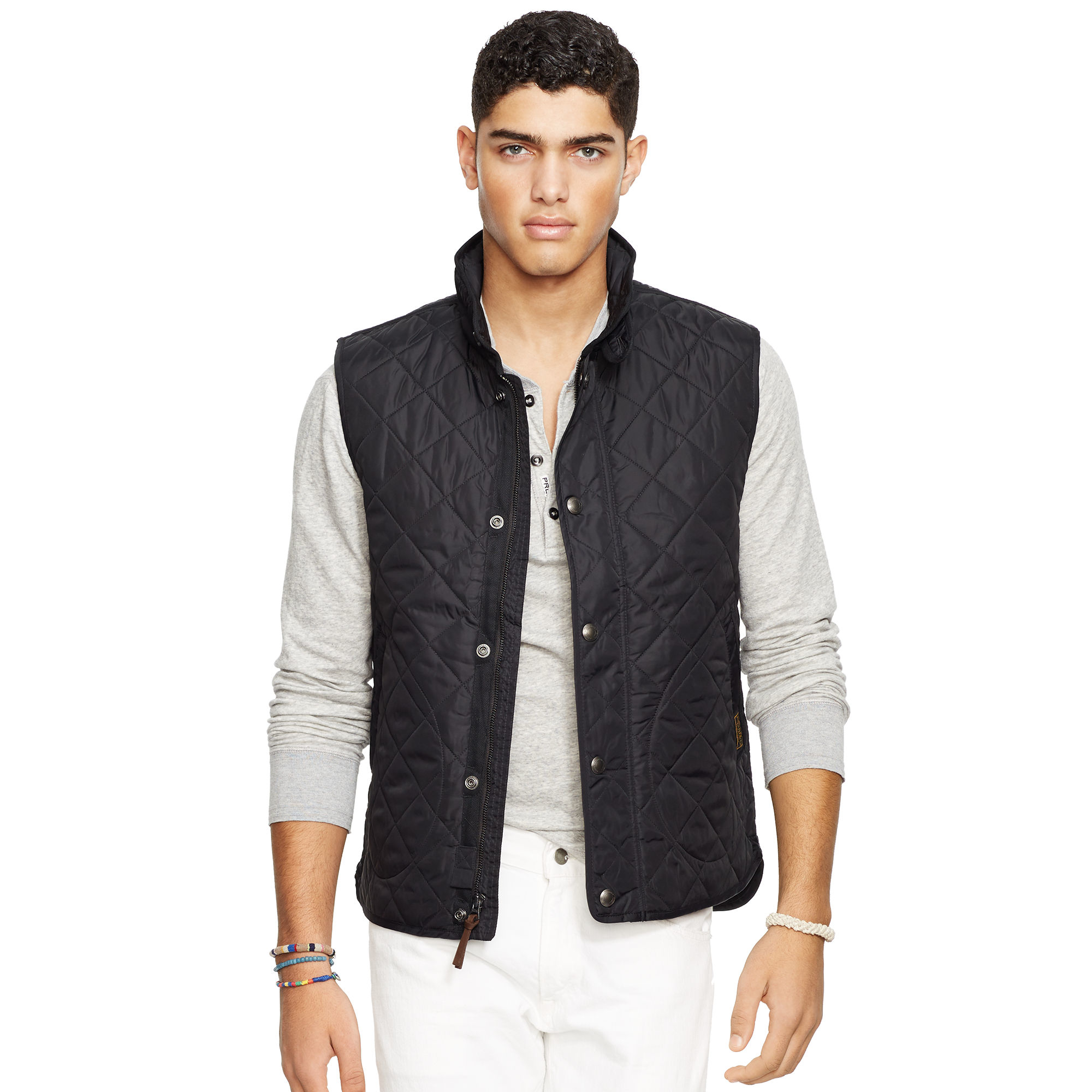 Polo Ralph Lauren Diamond Quilted Vest In Black For Men Lyst