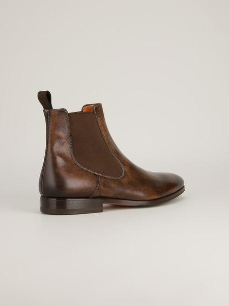 Santoni Chelsea Boot In Brown For Men Lyst