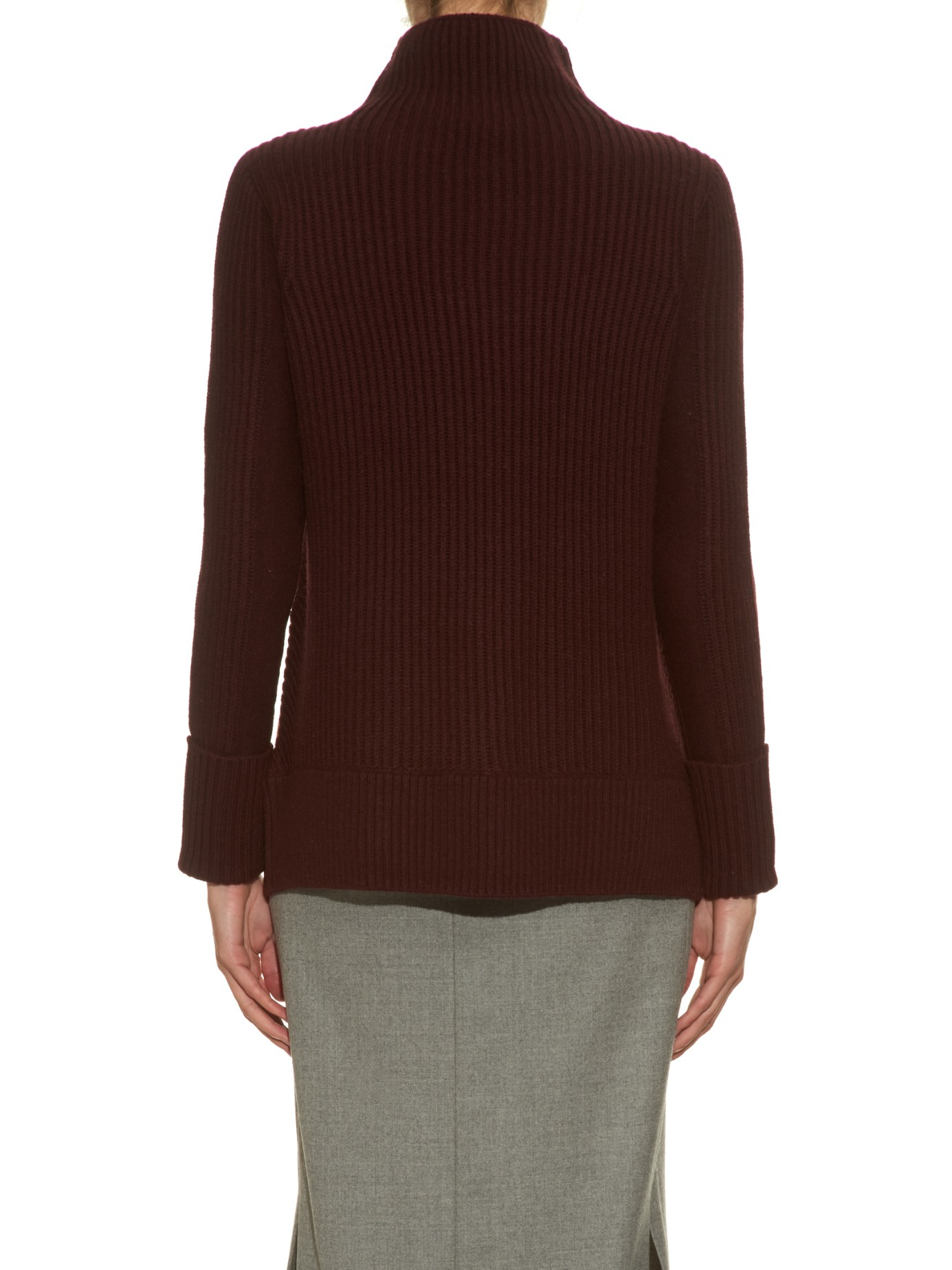 Vince Diagonal-knit Wool And Cashmere-blend Sweater in Purple | Lyst