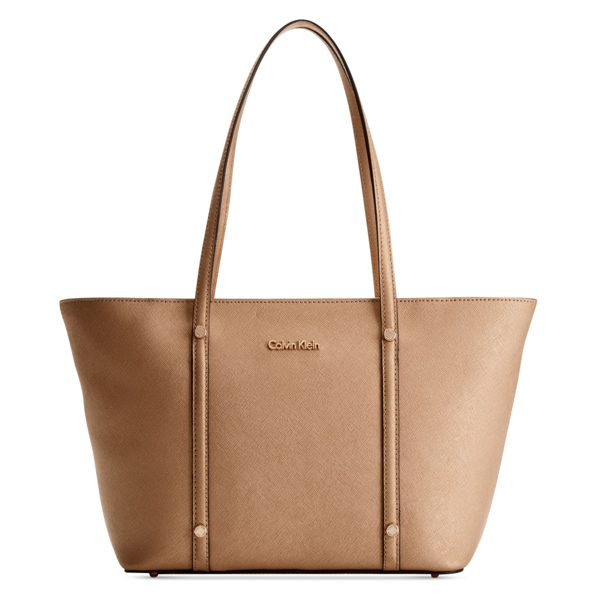 calvin klein key items saffiano tote in gold lyst. Black Bedroom Furniture Sets. Home Design Ideas