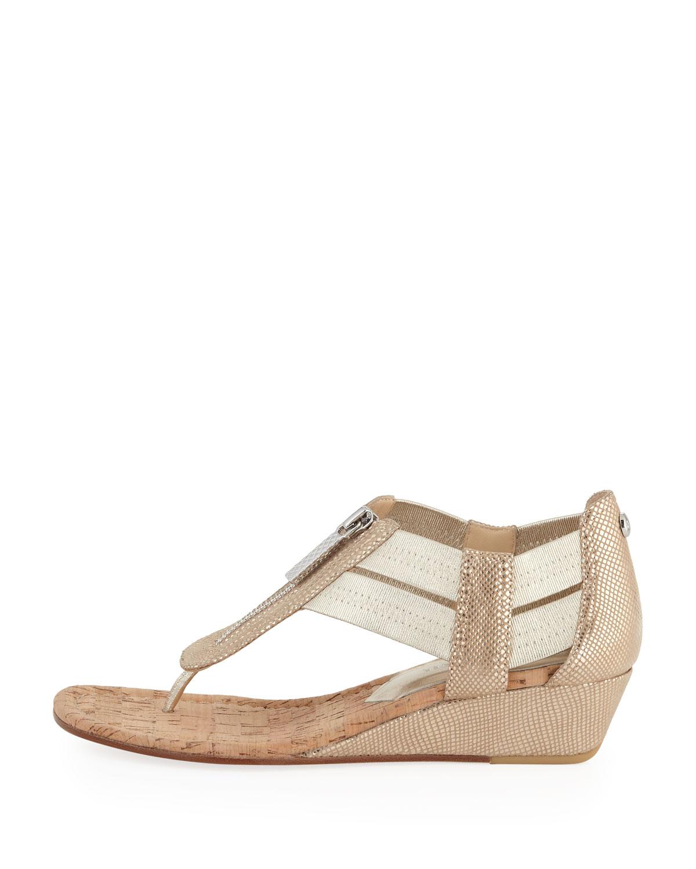 8798c206ca4c Lyst - Donald J Pliner Dori Metallic Demi-Wedge Sandal in Natural