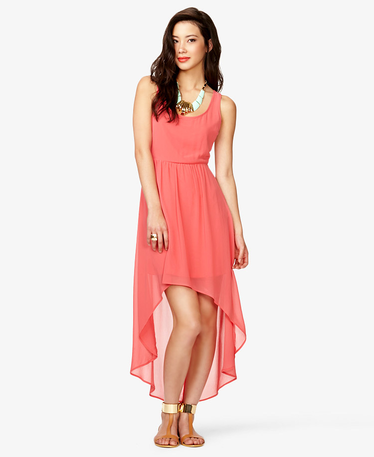Hi low dress with lace back