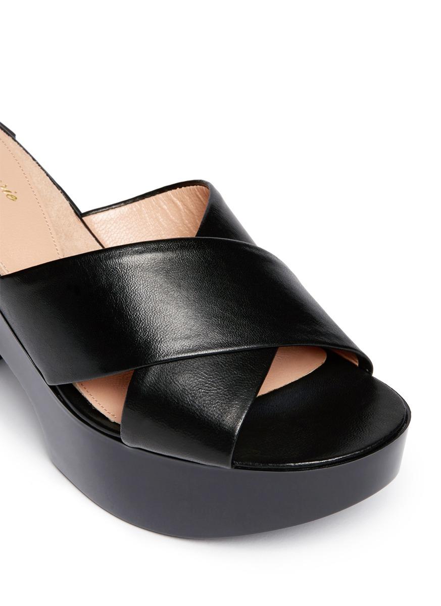 d9bec0b1a161 Lyst - Robert Clergerie  cross  Leather Platform Mules in Black