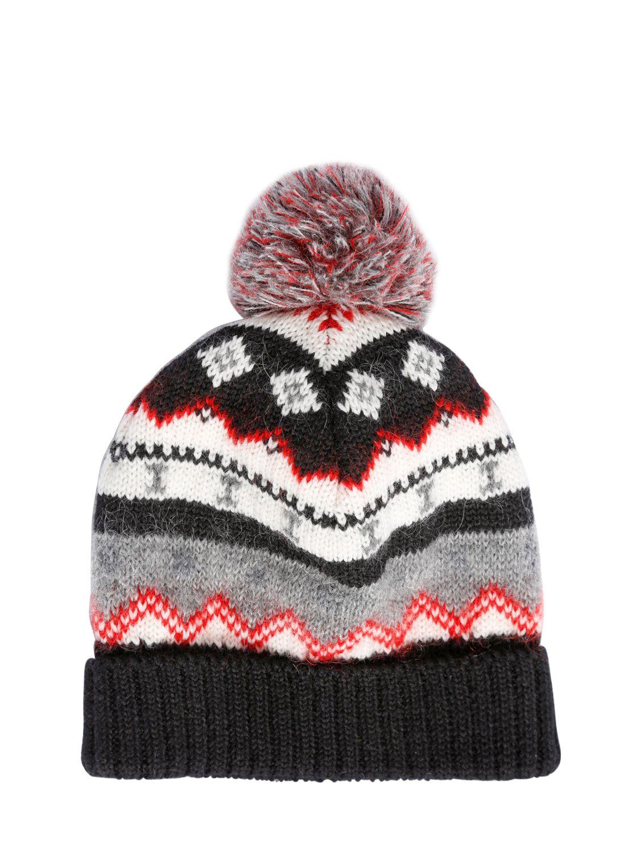 e65b508f42a Lyst - Saint Laurent Pompom Wool Blend Jacquard Beanie Hat for Men