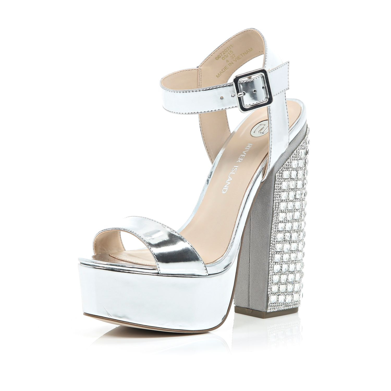 River Island Womens embellished platform block heel sandals DPt76ifJgT