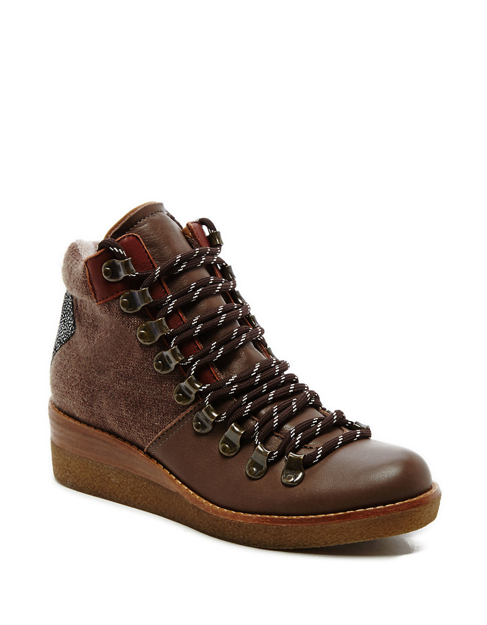 dolce vita sirena leather wedge boots in multicolor lyst