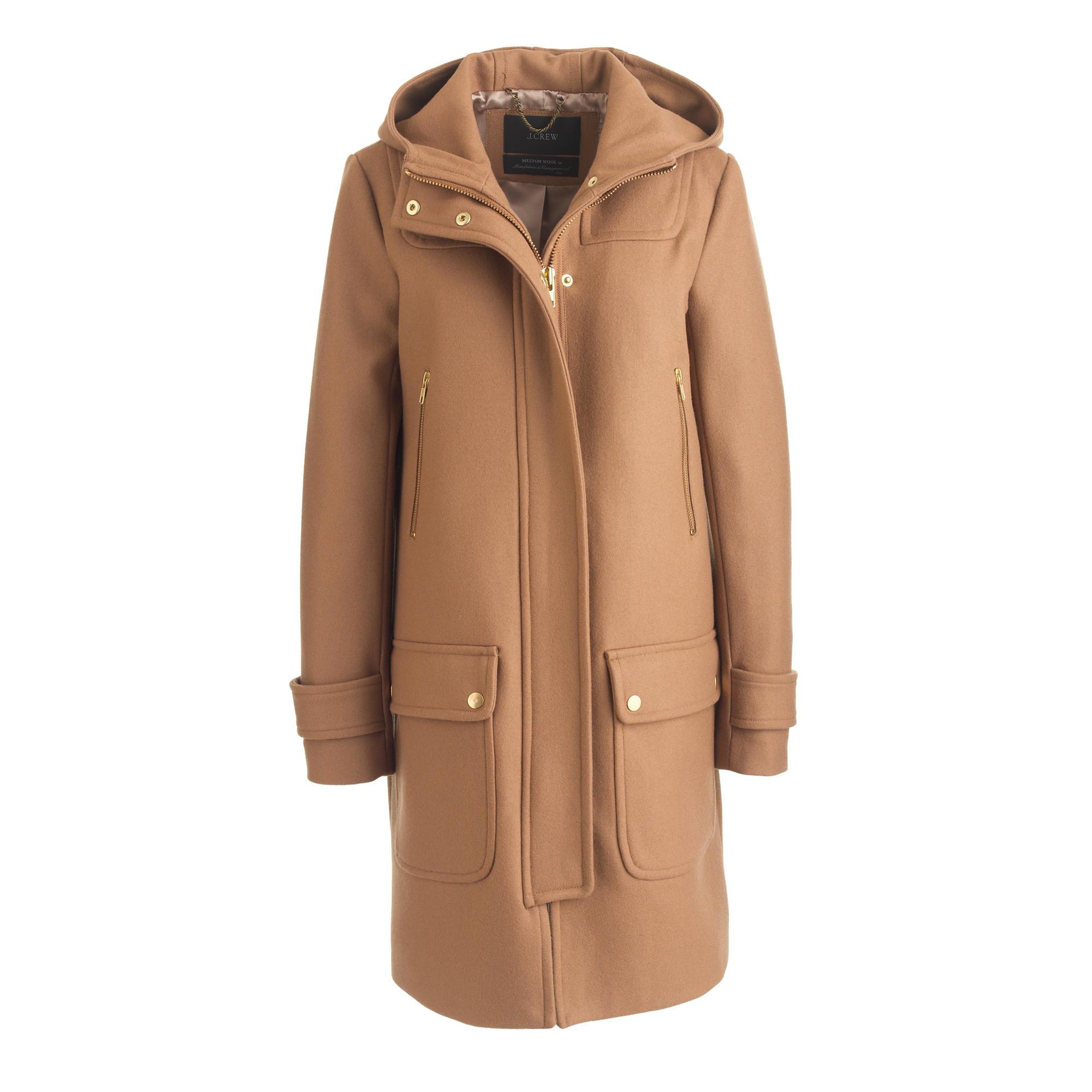 J.crew Petite Wool Melton Duffle Coat in Natural | Lyst