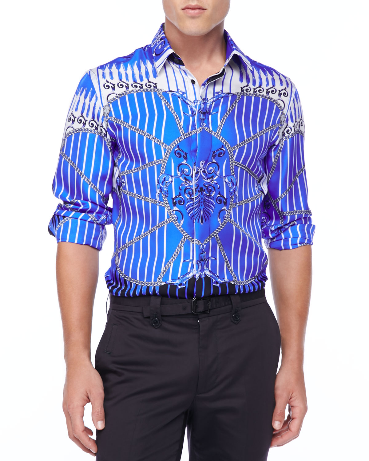 Versace Baroque Print Long Sleeve Shirt in Multicolor for ...