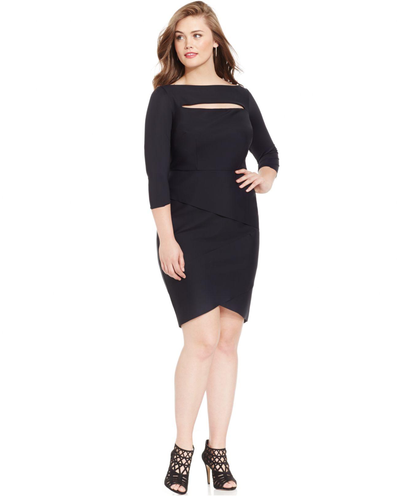 Lyst - Alex evenings Plus Size Tiered Cutout Sheath Dress in Black